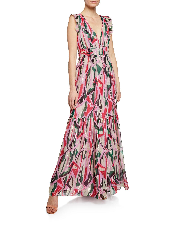 Betty Geo-Print Belted Metallic Long Dress in Pink