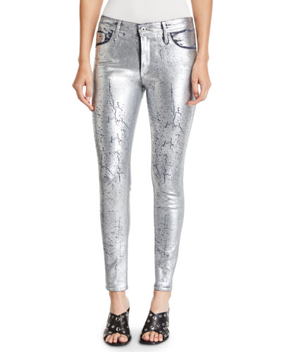 Farrah Metallic High-Rise Skinny Jeans