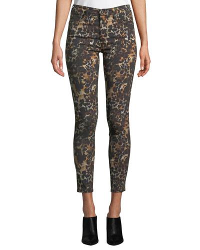 The Farrah High-Rise Animal-Print Camo Skinny Jeans