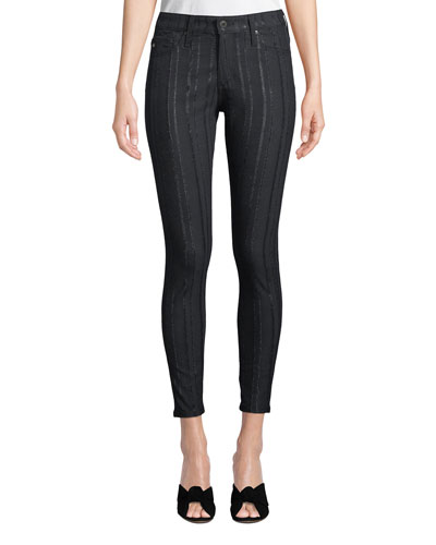 Farrah High-Rise Skinny Ankle Jeans with Metallic Stripes