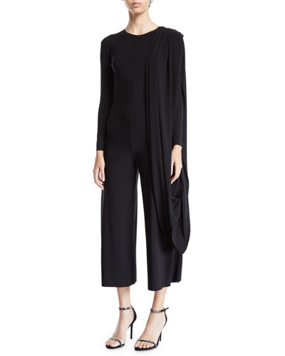Long-Sleeve Draped Cropped Jumpsuit