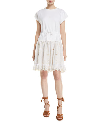 736b07fd51a Short-Sleeve Cotton Dress with Lace Combo