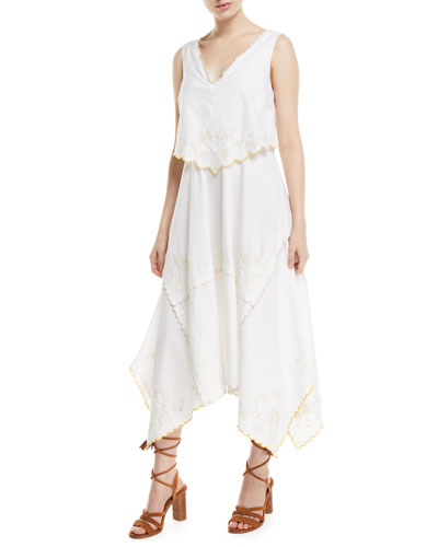 Long Tiered Cotton Handkerchief Dress