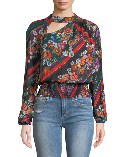 Gavin Cutout Floral Long-Sleeve Blouse