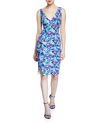 Gota Printed Surplus Dress with Asymmetric Flounce