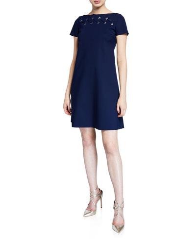 Rosario Cap-Sleeve Looped Grommet A-Line Dress