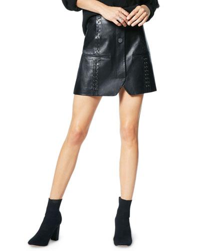 Aster Leather Grommet Mini Skirt