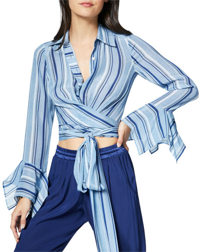 Hayven Striped Button-Front Wrap Top