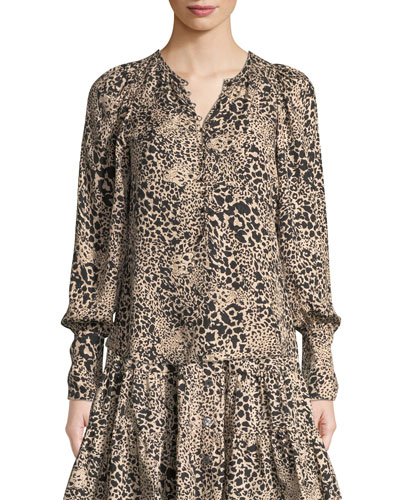 812d99d75cd Leopard-Print Jacquard Silk Button-Front Blouse