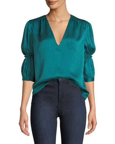 Silk V-Neck Cinched-Sleeve Top
