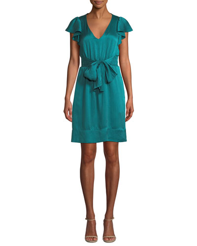Belted Silk Flutter-Sleeve V-Neck Dress