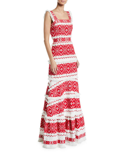 Leonora Embroidered Sleeveless Long Dress