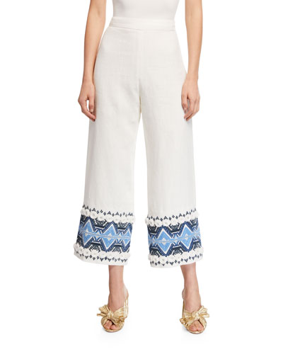 Lowri High-Rise Embroidered Wide-Leg Pants