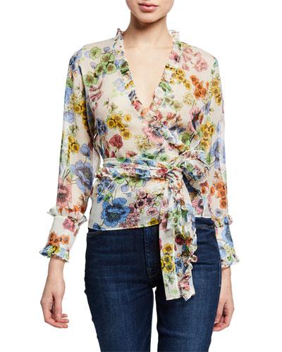 Missie Floral Long-Sleeve Wrap Top