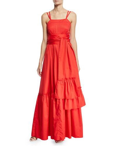Ophira Tiered Sleeveless Maxi Dress with Sash