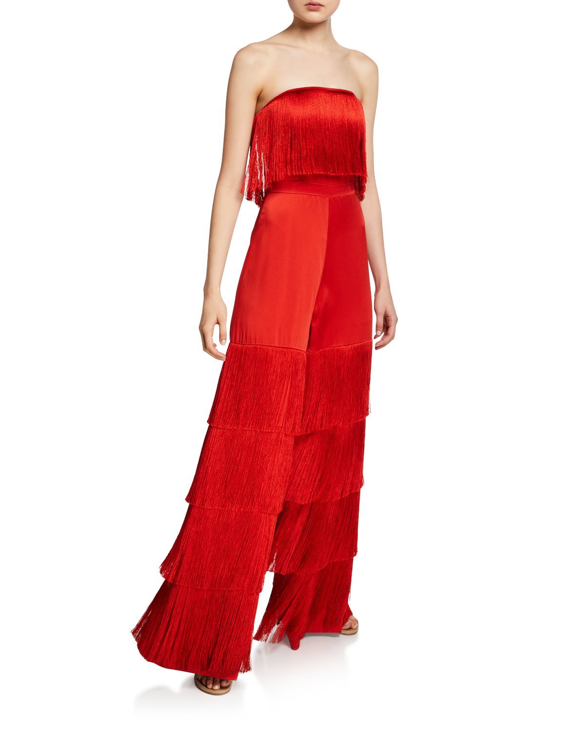 Maxima Strapless Satin Fringe Jumpsuit in Red