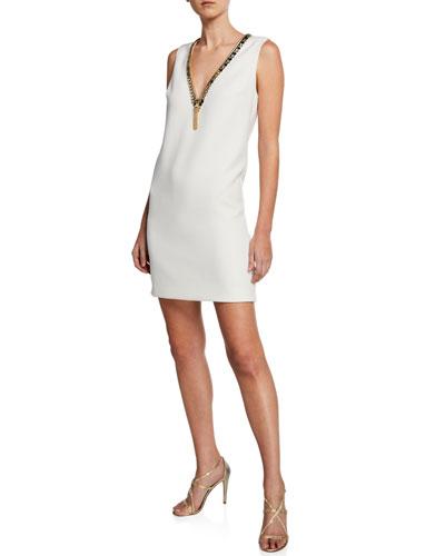 Embellished V-Neck Sleeveless Sack Dress