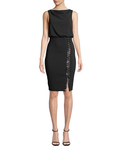 Bateau-Neck Sleeveless Blouson Dress w/ Embellished Skirt & Zip Hem