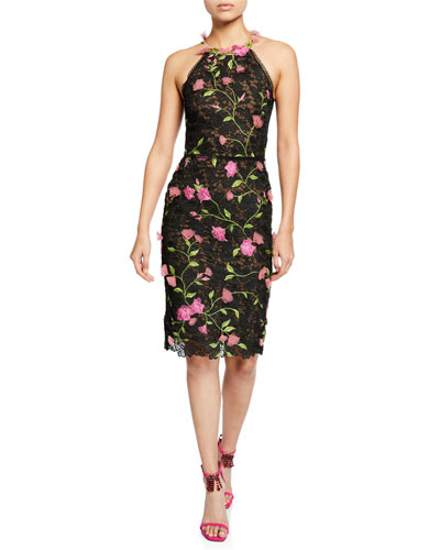 a2baf28264a Halter Floral-Embroidered Guipure Lace Dress w  Cutout Back   3D Flowers