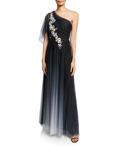 Ombre One-Shoulder Flutter-Sleeve Tulle Gown w/ Floral-Embroidered Appliques