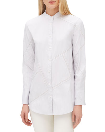 Lenno Streamline Striped Long-Sleeve Button-Front Blouse, Plus Size
