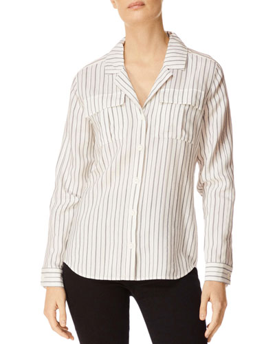 Peyton Striped Button-Down Utility Shirt w/ Lace-Up Back