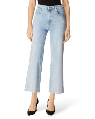 Joan High-Rise Cropped Wide-Leg Jeans w/ Raw Hem