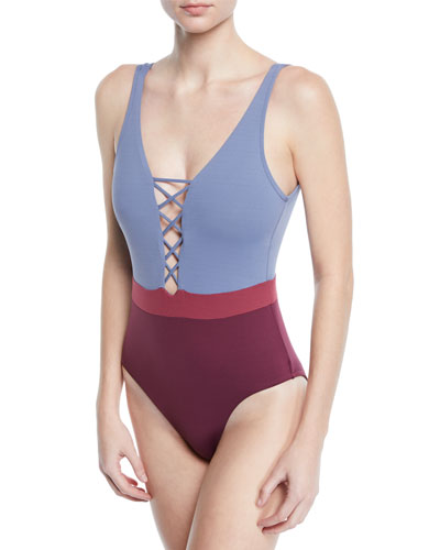 Radiance Lace-Up Colorblock One-Piece Swimsuit