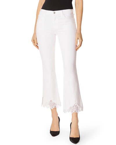 Selena Mid-Rise Cropped Boot-Cut Jeans w/ Lace Hem