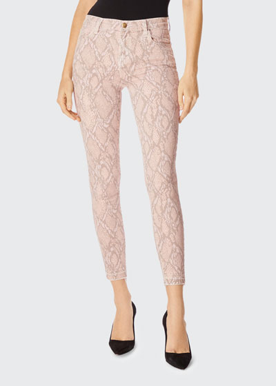 Alana High-Rise Cropped Snake-Print Jeans