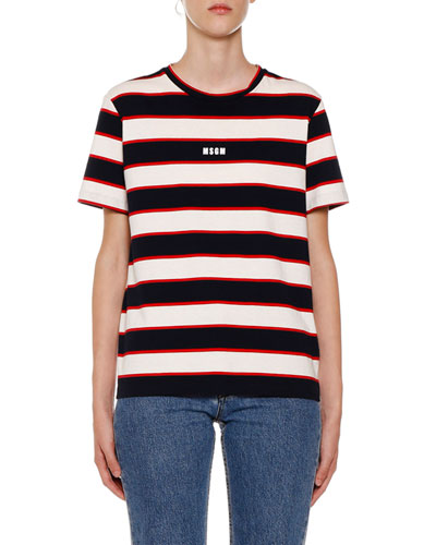 Horizontal Striped Crewneck Short-Sleeve Cotton T-Shirt
