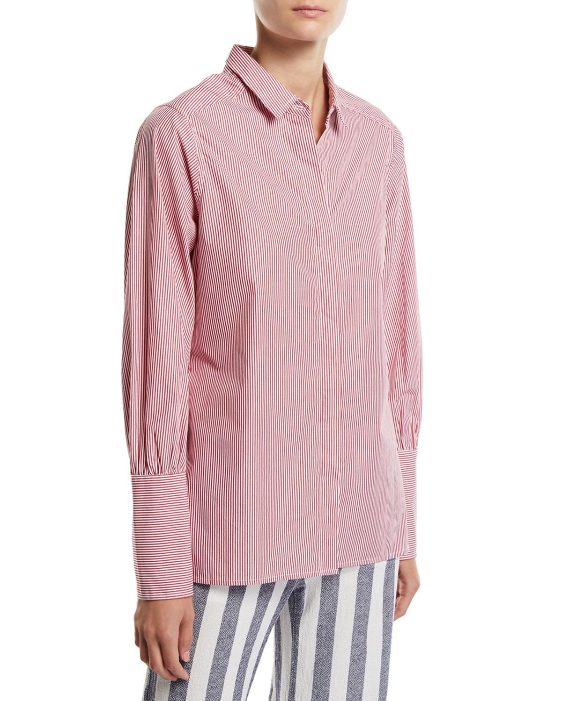 PARKER SMITH Miranda Striped Button-Down Blouse in Red White