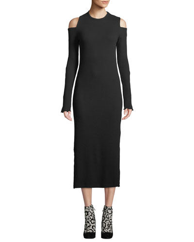 Going Steady Ribbed Cold-Shoulder Long Dress