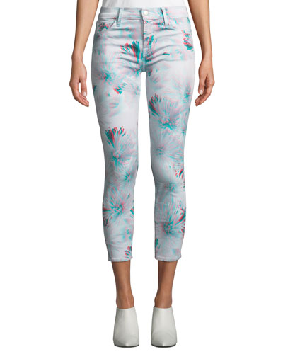 835 Mid-Rise Cropped 3D-Print Skinny Jeans