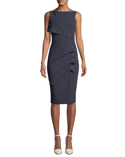 Miracle Asymmetric Pearly-Trim Dress