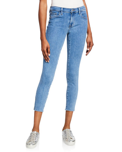835 Mid-Rise Crop Skinny Jeans with Frayed Hem