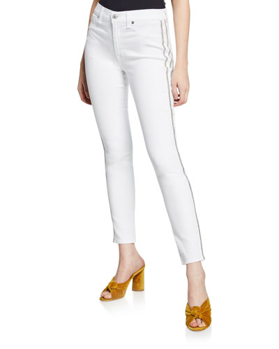 High-Waist Ankle Skinny Jeans with Silver-Stripe Details
