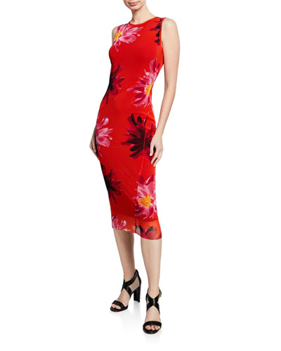 Fracture Sleeveless Floral-Printed Tank Dress