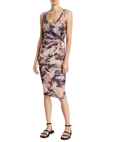 Camouflage Scoop-Neck Fitted Tank Dress