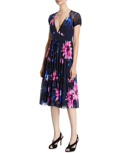 Fracture V-Neck Floral-Print Short-Sleeve Tiered Dress