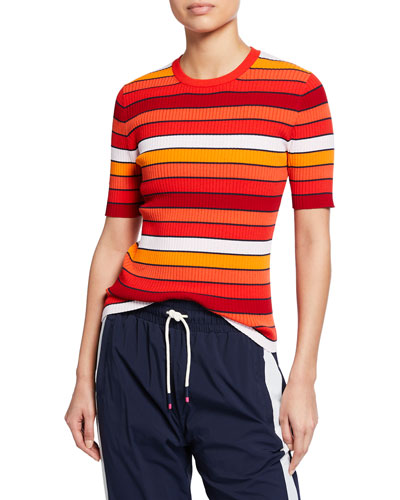 Tech Knit Striped Short-Sleeve Sweater