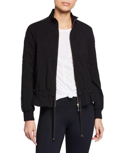logo ruffle zip-front jacket