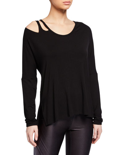 Slashed Scoop-Neck Long-Sleeve Active Top