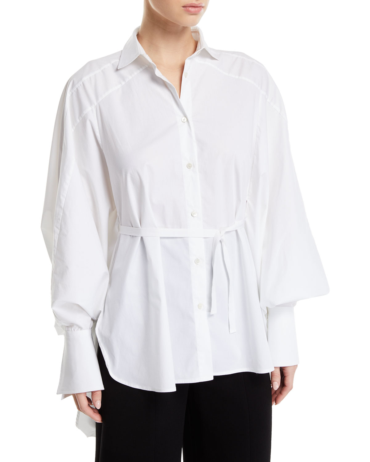 PALMER//HARDING Streep Draped-Back Cotton Button-Front Shirt in White