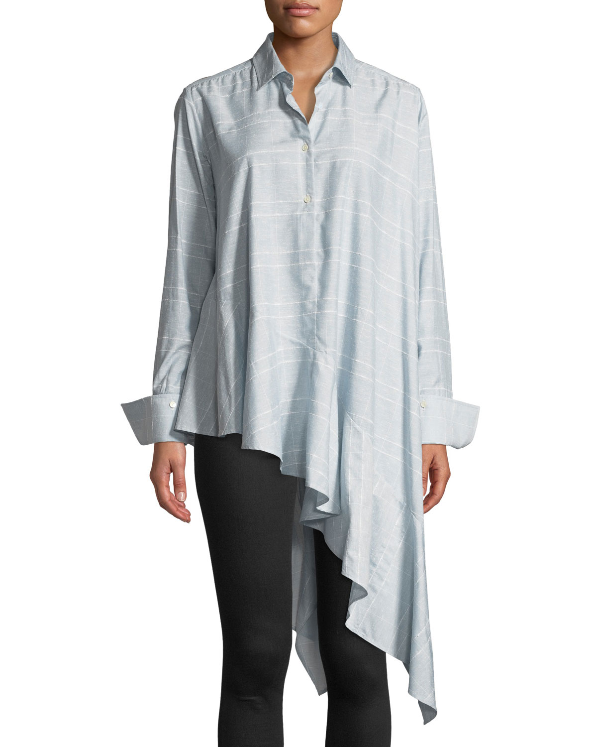 PALMER//HARDING Spicy Long-Sleeve Button-Front Asymmetric Shirt in Blue Pattern