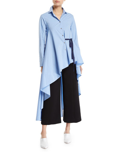 Super Long-Sleeve Asymmetric Cotton Shirt w/ Tie Detail