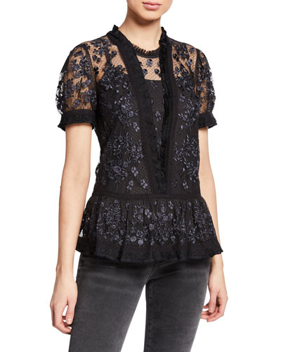 Fortuny Embroidered Tulle Peplum Blouse