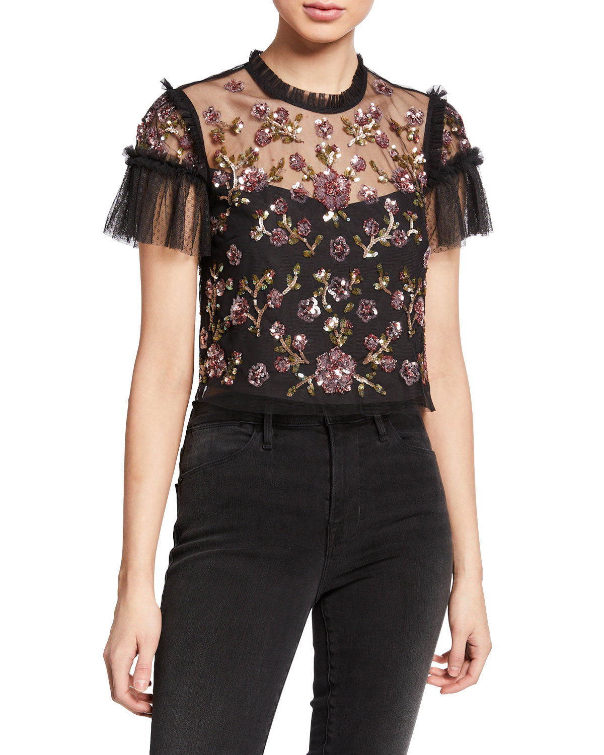 Needle & Thread Tops CARNATION SEQUINED TULLE CROPPED BLOUSE
