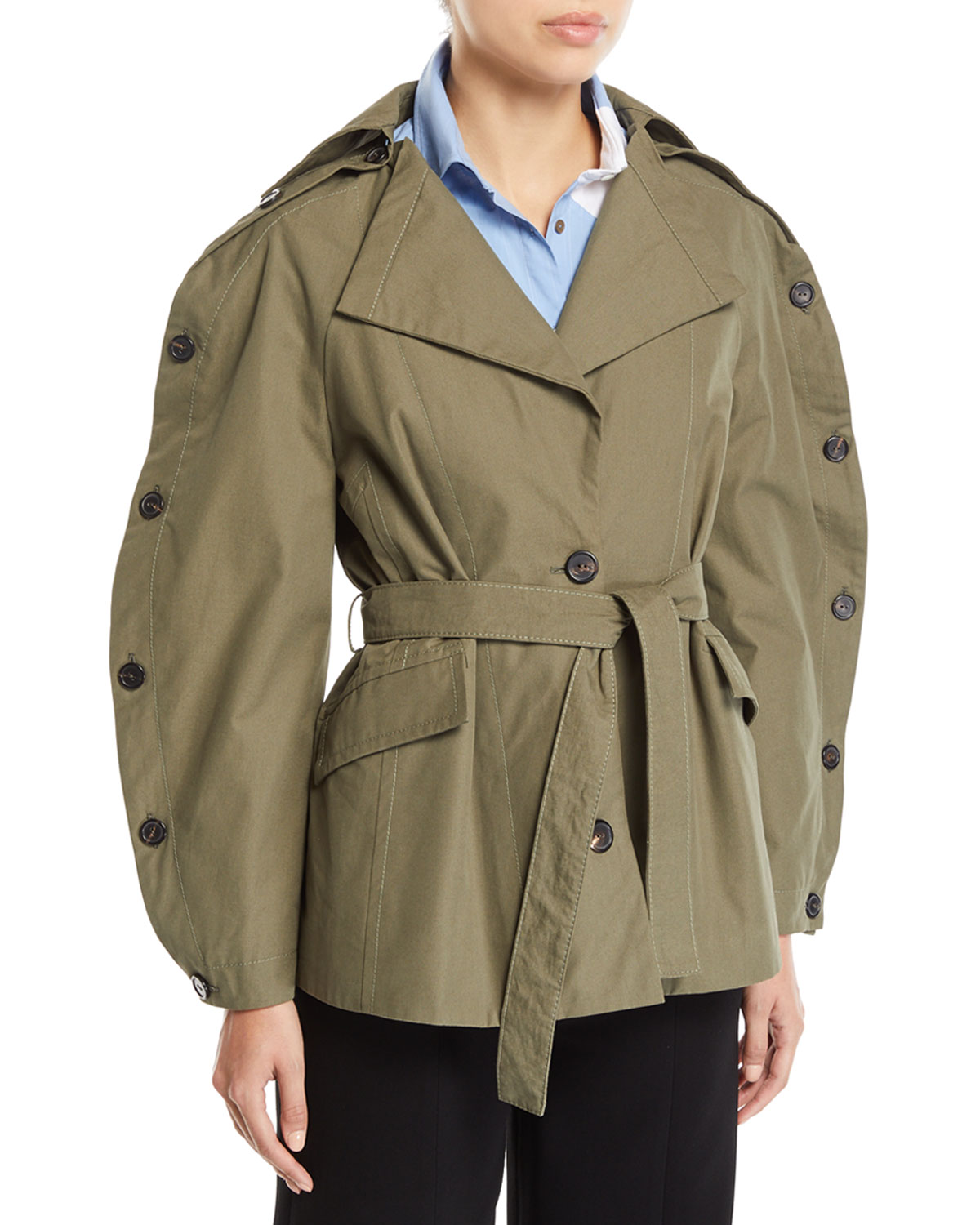 PALMER//HARDING Ring Button-Sleeve Belted Cotton Jacket in Green