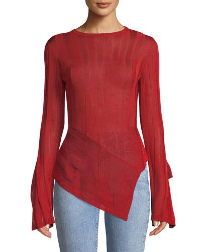 Blaze Asymmetric Split-Sleeve Sweater